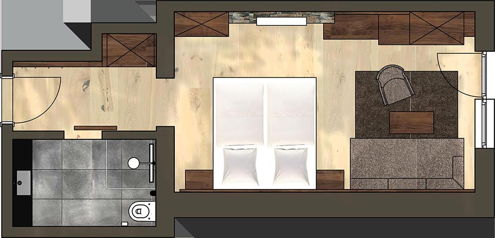 4 Sterne Hotel Albona Ischgl - Komfort Doppelzimmer Grundriss
