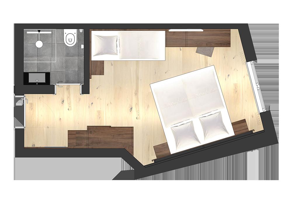 4 Sterne Hotel Albona Ischgl - Standard Doppelzimmer Grundriss