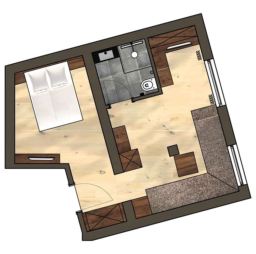 4 Sterne Hotel Albona Ischgl - Einzelzimmer-Grundriss